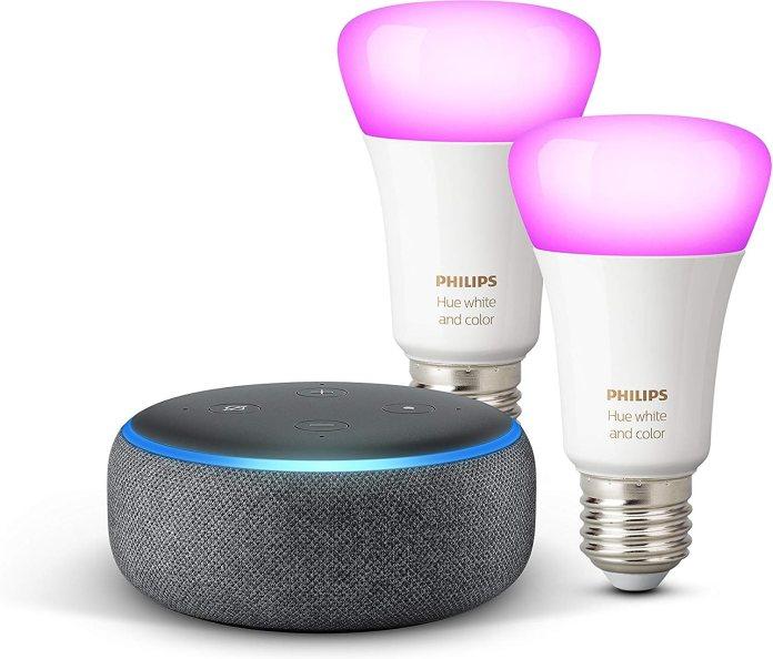 Amazon echo dot + 2 Philips Hue