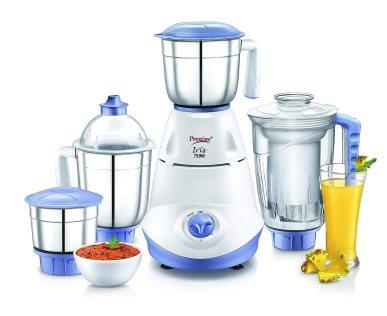 Best Mixer Grinder in India 2021 |Prestige Iris 750 Watt Mixer Grinder with 3 Stainless Steel Jar + 1 Juicer Jar (White and Blue) | Best Prestige Mixer Grinder Price 2021 | Buy on Amazon