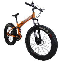 "SAIGULA Fat Tire Folding Mountain Bike,Fat Bikes 26 Inch 4.0"" Tire 7 Speed for Beach Snow (FB2 Orange)"