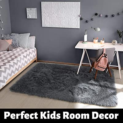 Buy Gray Area Rug For Bedroom 4 X6 Fluffy Shag Rug For Living Room Furry Carpet For Kids Room Shaggy Throw Rug For Nursery Room Fuzzy Plush Rug Grey Carpet Rectangle Cute Room Decor For Baby Online In Greece B086137qzz