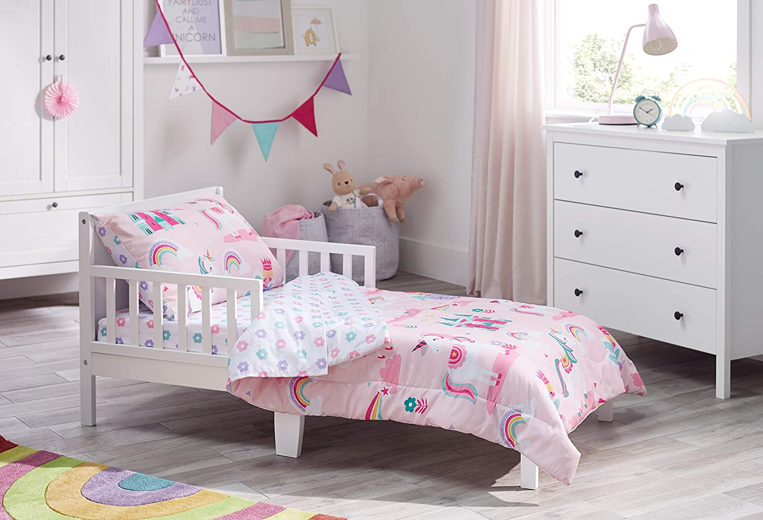 Amazon Com Bloomsbury Mill 4 Piece Toddler Comforter Set Magic Unicorn Fairy Princess Enchanted Castle Pink Kids Bedding Set Baby