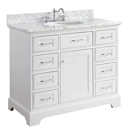 Aria 42 Inch Bathroom Vanity Carrara White Includes A White Cabinet