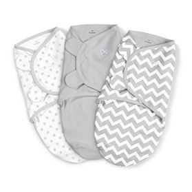 SwaddleMe Original 3-Piece Swaddle, Grey Chevron Stars, Small/Medium (0-3) months