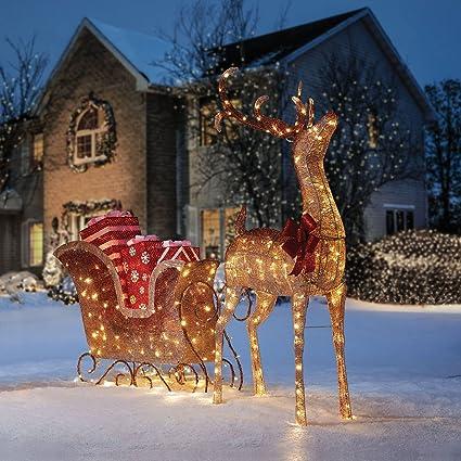 Large Buck Reindeer Sleigh Display Outdoor Christmas Decoration Sculpture