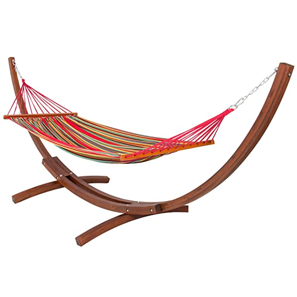 Wooden Curved Arc Hammock Stand with Cotton Hammock Outdoor