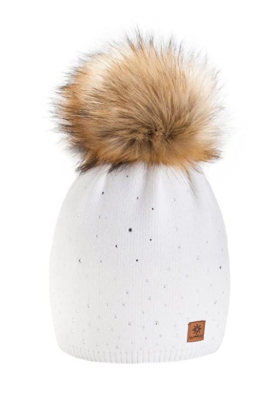 Wurm Winter Strickmütze Mütze Damen Kristalle Kiesel mit Große Pelz Bommel Pompon l SKI (Ecru) ( MFAZ Morefaz Ltd)