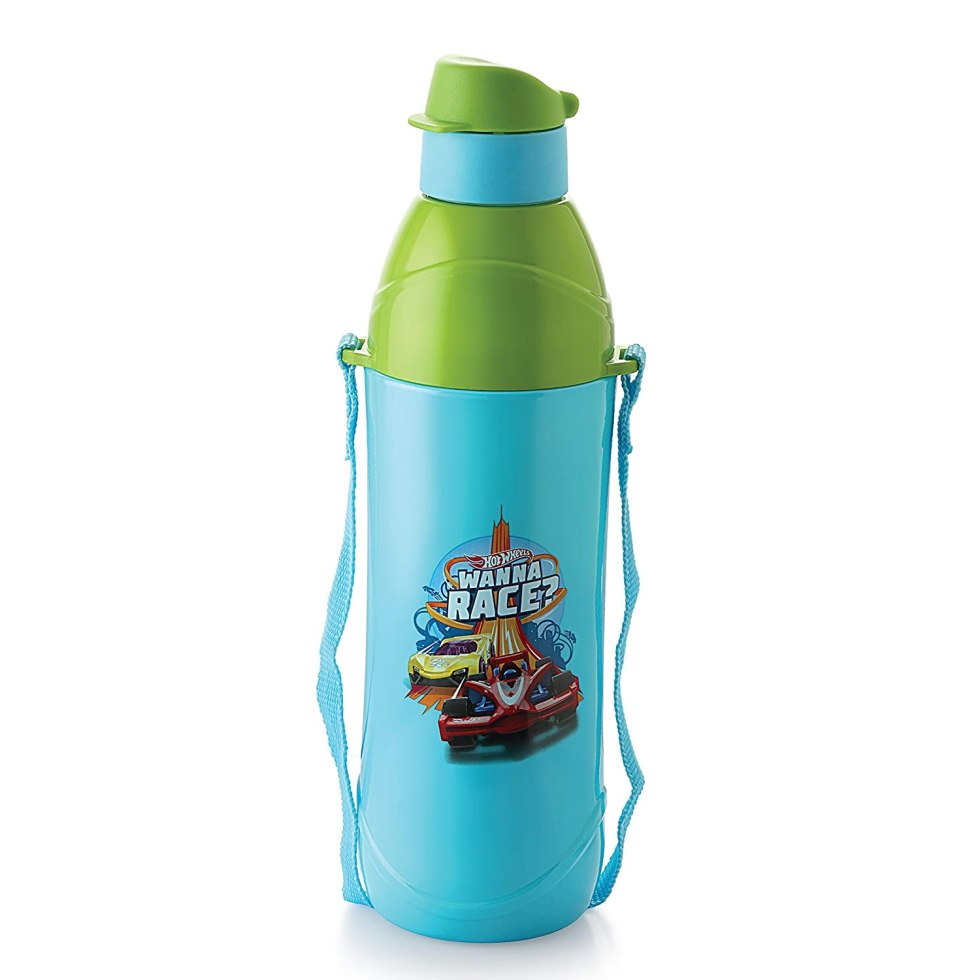 Cello Puro Junior Hot Wheel Print Plastic Water Bottle, 600ml, Sky Blue