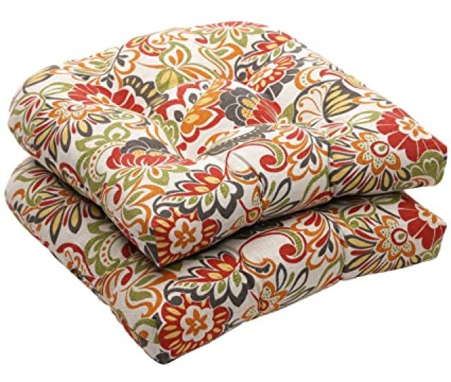 Amazon Com Pillow Perfect Indoor Outdoor Multicolored Modern Floral Wicker Seat Cushions 2 Pack Home Kitchen