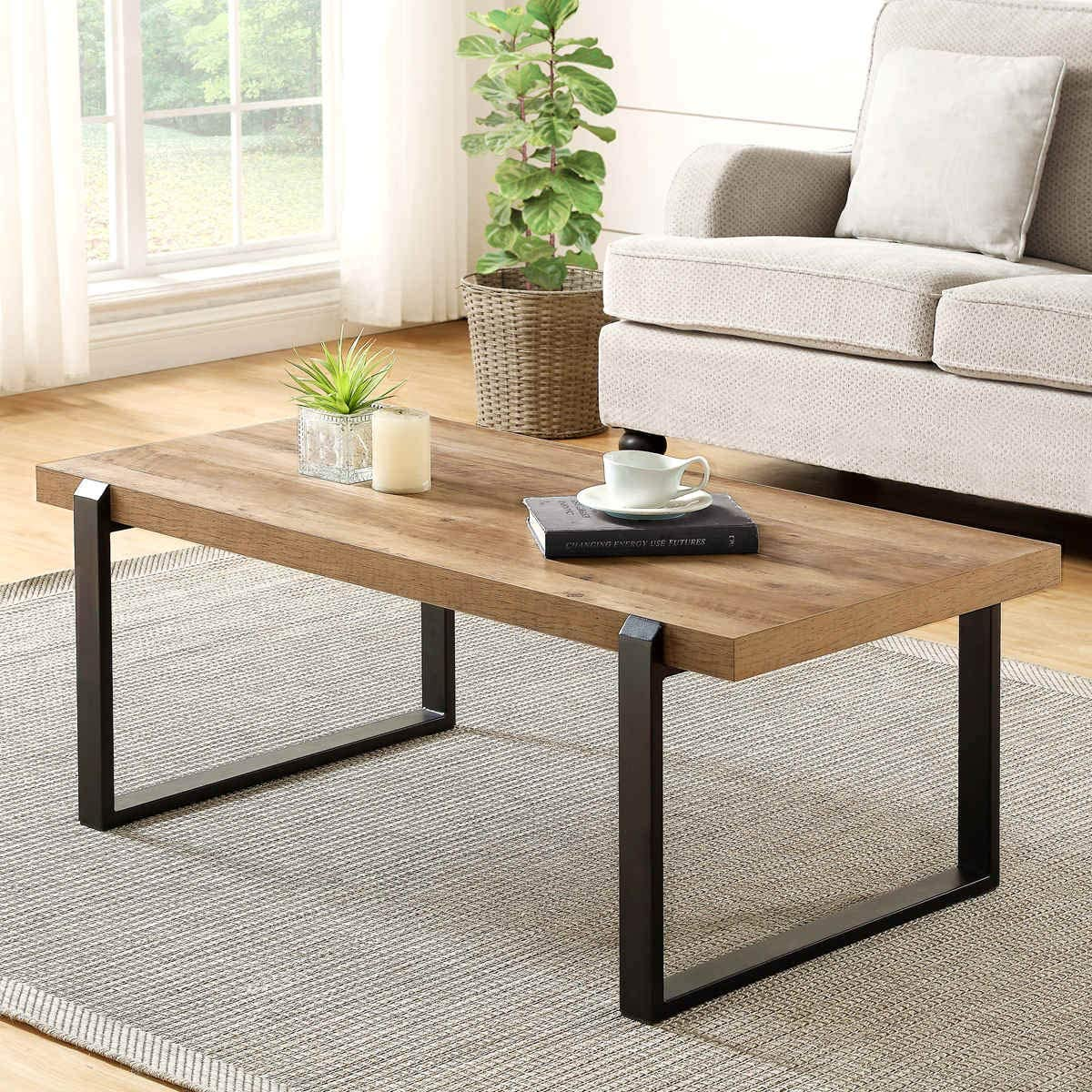 Amazon Com Foluban Rustic Coffee Table Wood And Metal Industrial Cocktail Table For Living Room 47 Inch Oak Kitchen Dining