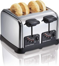 Hamilton Beach Classic Chrome 4 Slice Extra Wide Slot Toaster with Bagel Technology, One-Touch Smart Functions, Shade Selector, Toast Boost