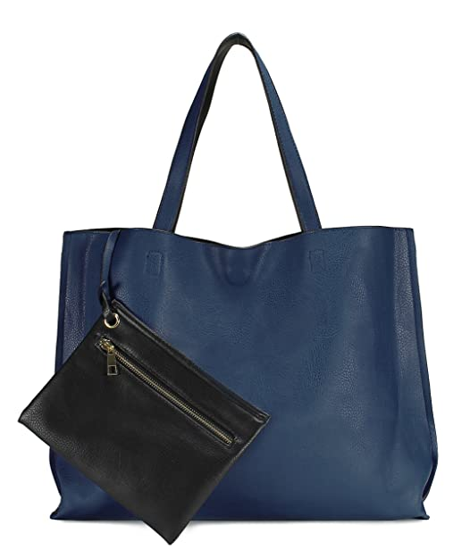 Scarleton Stylish Reversible Tote Bag H18420701 - Blue/Black