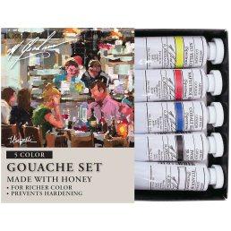 M. Graham 1/2-Ounce Tube 5 Color Gouache Paint Primary Set