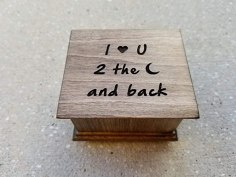 Music box with I love you to the moon and back engraved on the top, with your choice of color and song, great Christmas gift
