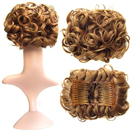 SWACC Short Messy Curly Dish Hair Bun Extension