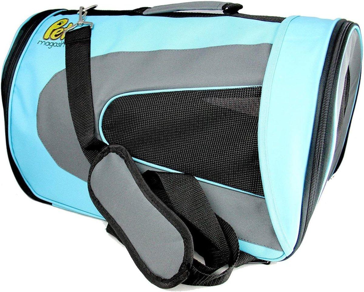 PET MAGASIN Transportadora para Mascotas Flexible, aceptada por aerolíneas, a Prueba de Agua y Plegable, para Gatos, Perros pequeños y Cachorros, para Aviones y Autos (46 x 29 x 25,4 cm)