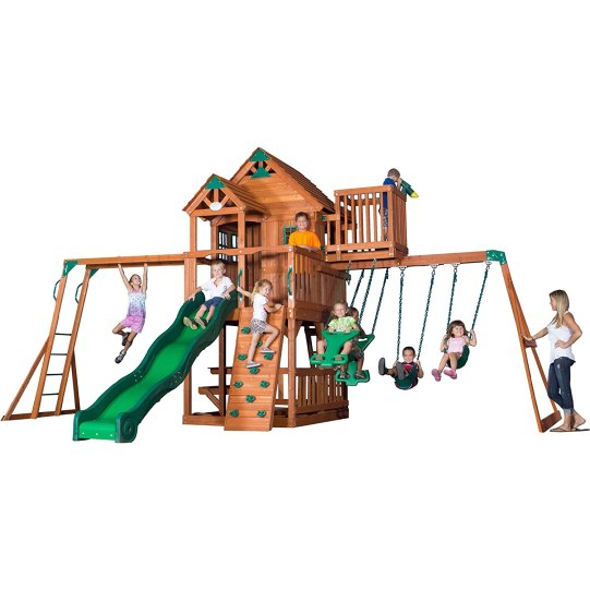 Skyfort II All Cedar Wood Playset Swing Set