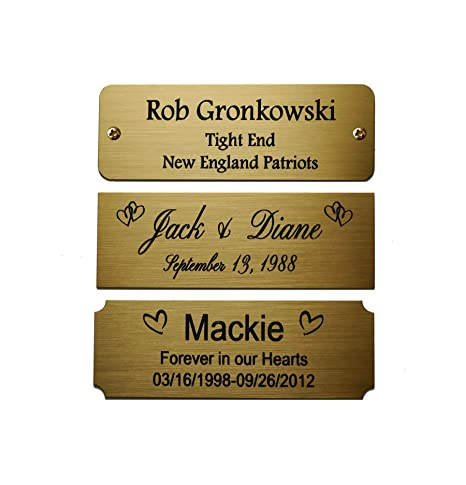 Size 3 W X 1 H Personalized Custom Engraved Brushed Gold Solid Brass Plate Picture Frame Name Label Art Tag For Frames With Adhesive Backing Or
