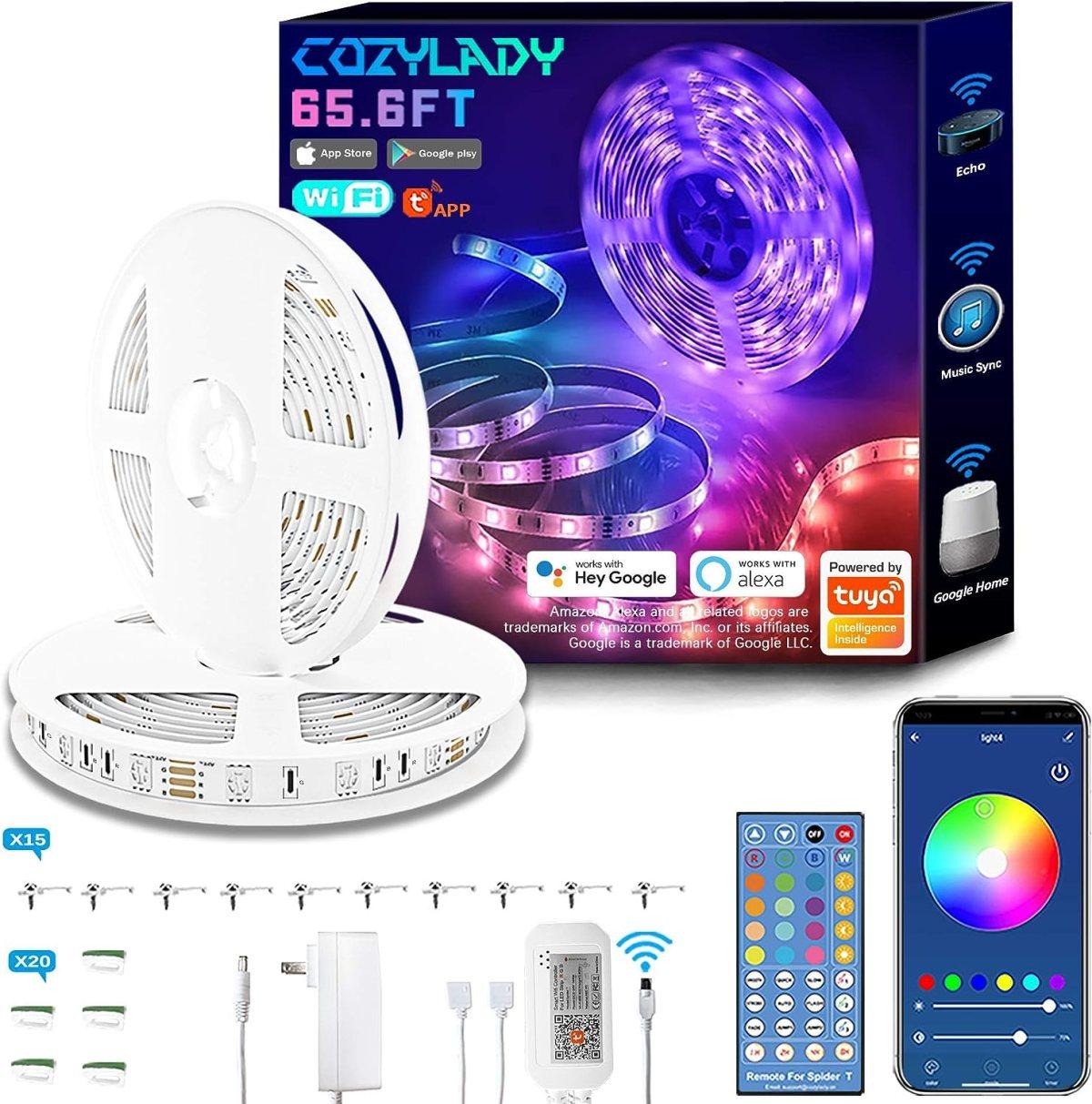Cozylady Alexa LED Strip Lights 65.6FT