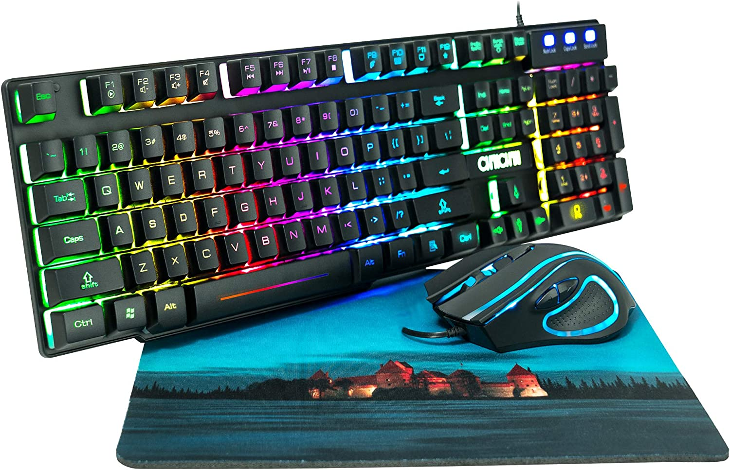 RGB Gaming Keyboard and Mouse Combo CHONCHOW 991b Rainbow Led Backlit 7 Colors Office Device Ergonomic Keyboard with Mice 3200 DPI Adjustable Compatible with PS4/Ps3 Xbox one Windows Mac PC