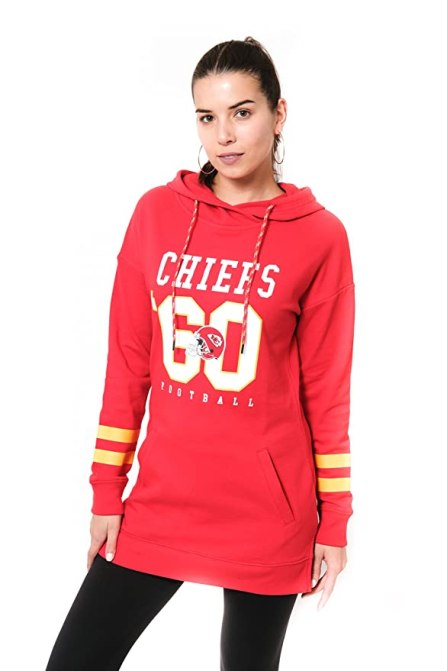 Icer Brands NFL Kansas City Chiefs Women's Tunic Hoodie Pullover Sweatshirt Terry, X-Large, Red