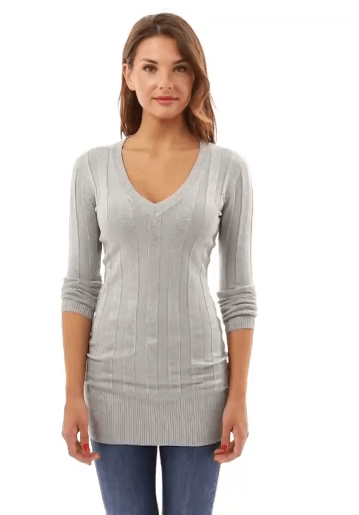 fd348dcc26f8 PattyBoutik Women V Neck Ribbed Tunic Knit Top - Mudii Boutique