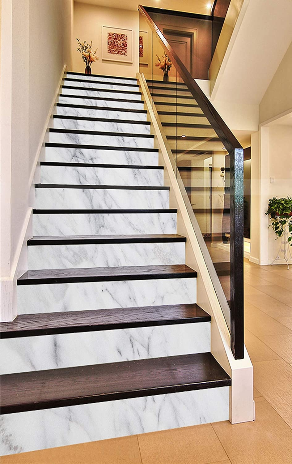 3D Elegant White 937 Pattern Tile Marble Stair Risers Decoration | Wood Steps With White Risers | Timber | Wood Stair | Before And After | Color | Stair Tread