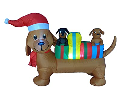 4 Foot Long Lighted Christmas Inflatable Three Dogs Yard Art Decoration