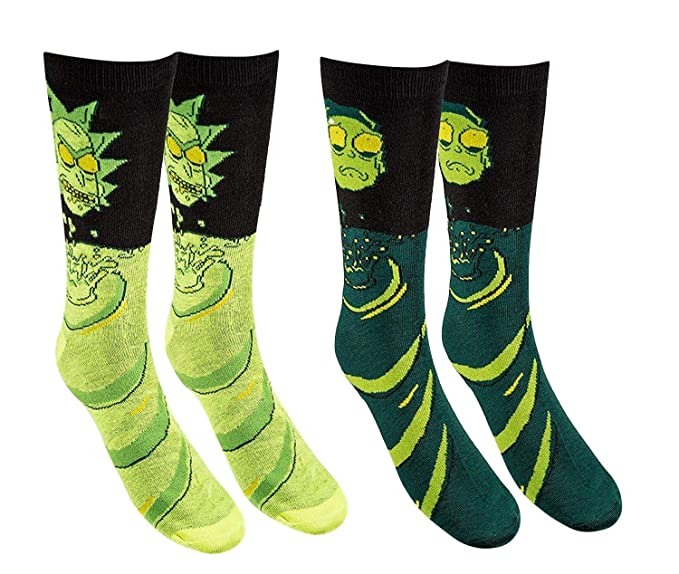 Men's Rick And Morty Casual Crew Socks (Toxic Rick)