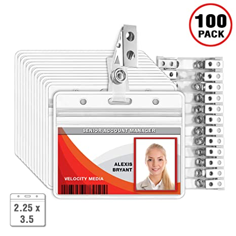 Mifflin Horizontal Plastic Card Holder With Clip Id Badge Holder With Clip Clear 225x35 Inch 100 Pack