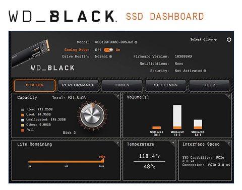 Western Digital WD BLACK SN750 NVMe DASHBOARD