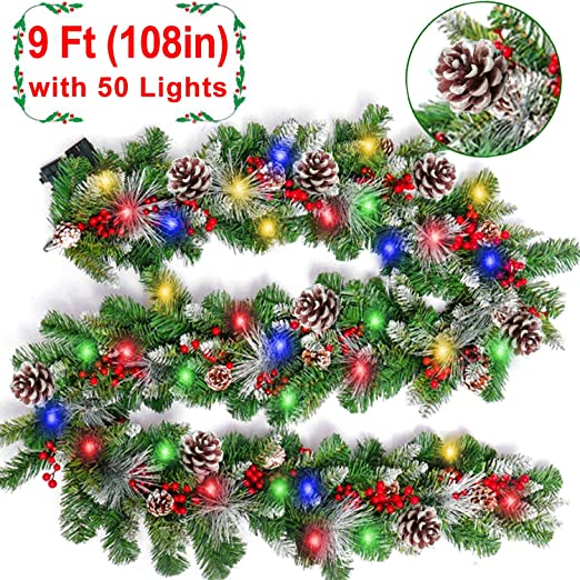 Amazon Com 9 Foot Prelit Christmas Garland Color Lights Frosted Xmas Garland Battery Operated 90 Red Berry 18 Pine Cone Snowy Bristle Pine Artificial Garland Wreath Decoration Indoor Home Fireplace Holiday Home Kitchen