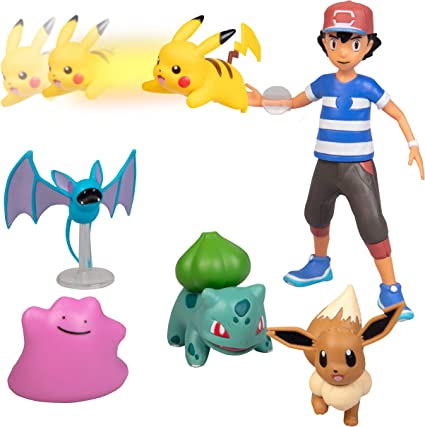 Amazon Com Pokemon Battle Figure Multi Pack Toy Set With Launching Action Generation 1 Includes Ash Pikachu Zubat Eevee Ditto And Bulbasaur 6 Pieces Ages 4 Toys Games