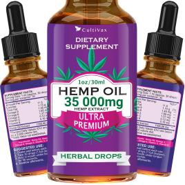 Hemp Oil 35 000mg for Pain Relief, Relaxation, Better Sleep, All Natural, Pure Extract, Vegan Friendly