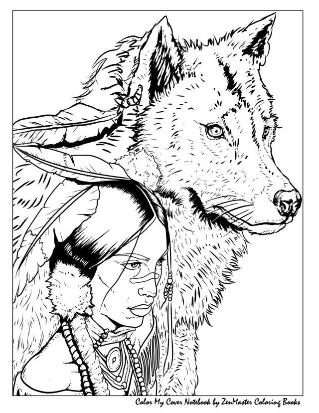 Color My Cover Notebook (Native American Woman and Wolf