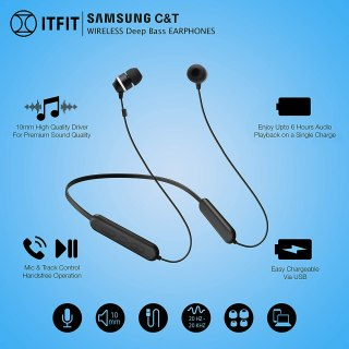 samsung c&t itfit wireless bluetooth earphones,