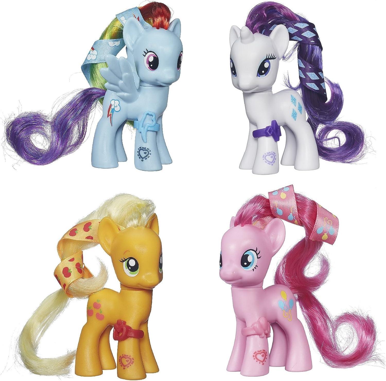 Amazon Com My Little Pony Cutie Mark Magic Figure Set Of 4 Applejack Rarity Rainbow Dash Pinkie Pie Toys Games