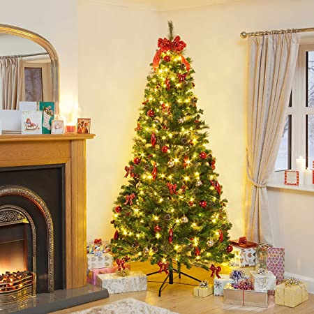 Snowtime 7ft Pre Lit Decorated Pop Up Led Christmas Tree
