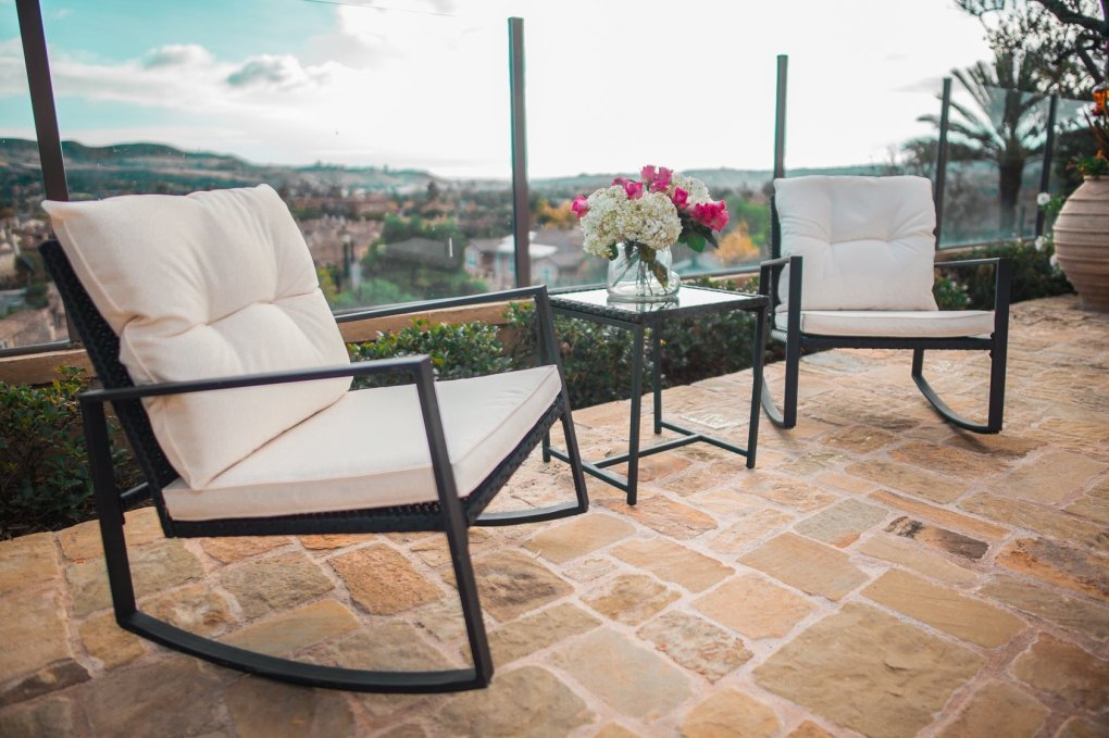 Suncrown Outdoor 3-Piece Rocking Wicker Bistro Set: Black Wicker Furniture - Two