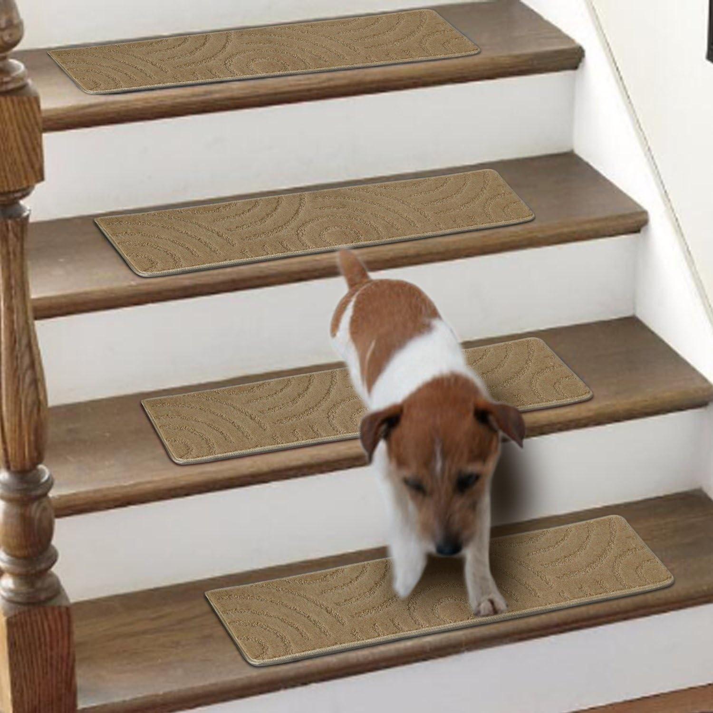 8 Inch X 30 Inch Beige Lonnie Life Stair Carpet Treads 1 Piece | 8 Inch Carpet Stair Treads | Wooden Stairs | Bullnose Carpet | Skid Resistant | Non Skid | Non Slip Stair