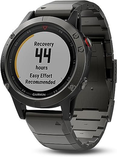 Garmin fenix 5, Premium and Rugged Multisport GPS Smartwatch, Sapphire Glass, Slate Gray w/ Metal Band, (Renewed)