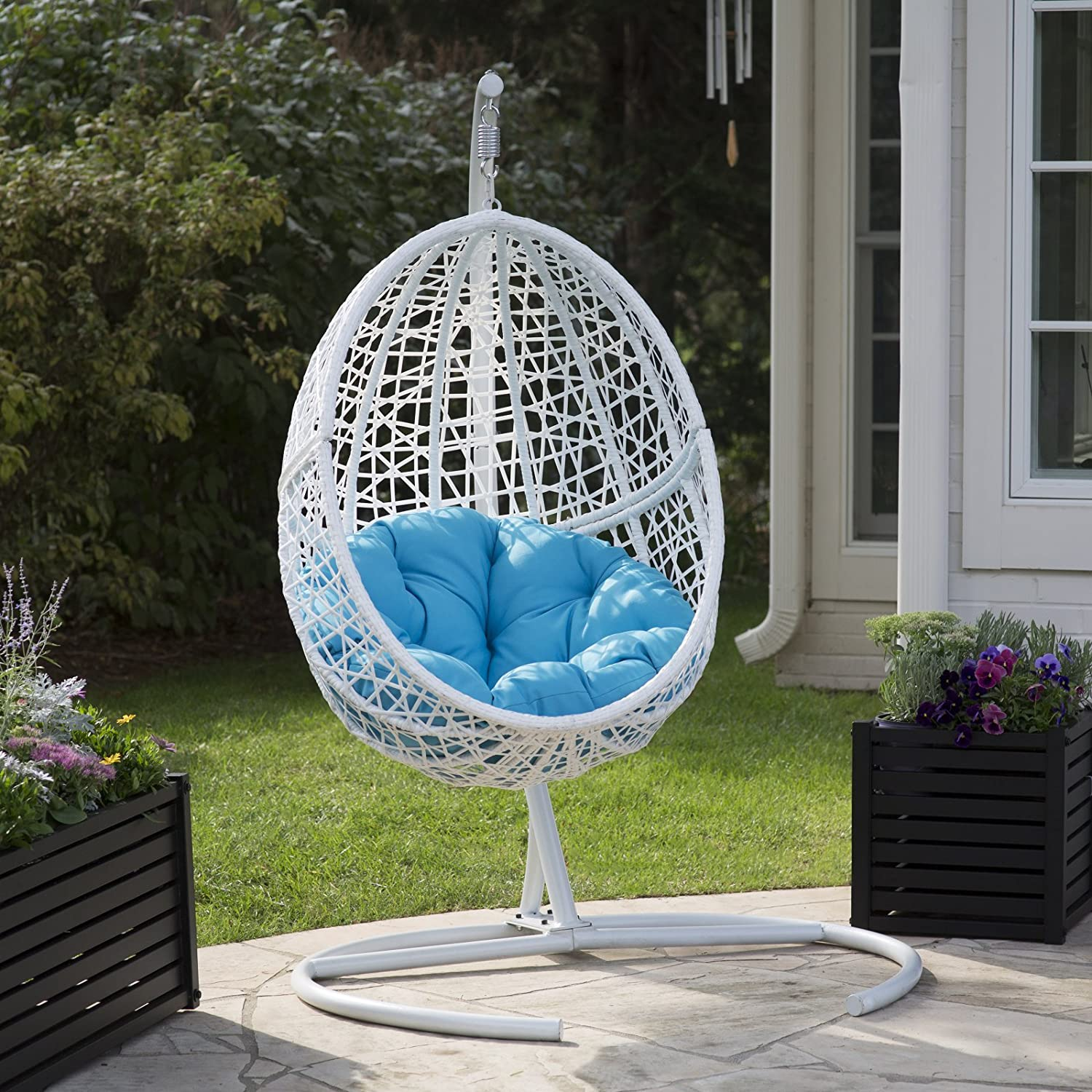 Amazon Com White Resin Wicker Hanging Egg Chair W Stand Outdoor Patio Includes Blue Cushion Industrial Scientific