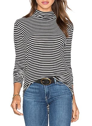 ZJCT Women Turtleneck Top Stripes Tee Casual Blouses Long Sleeve T Shirts S