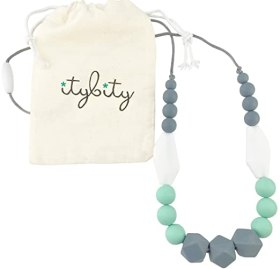 Baby Teething Necklace for Mom, Silicone Teething Beads, 100% BPA Free (Gray, Mint, White, Gray)