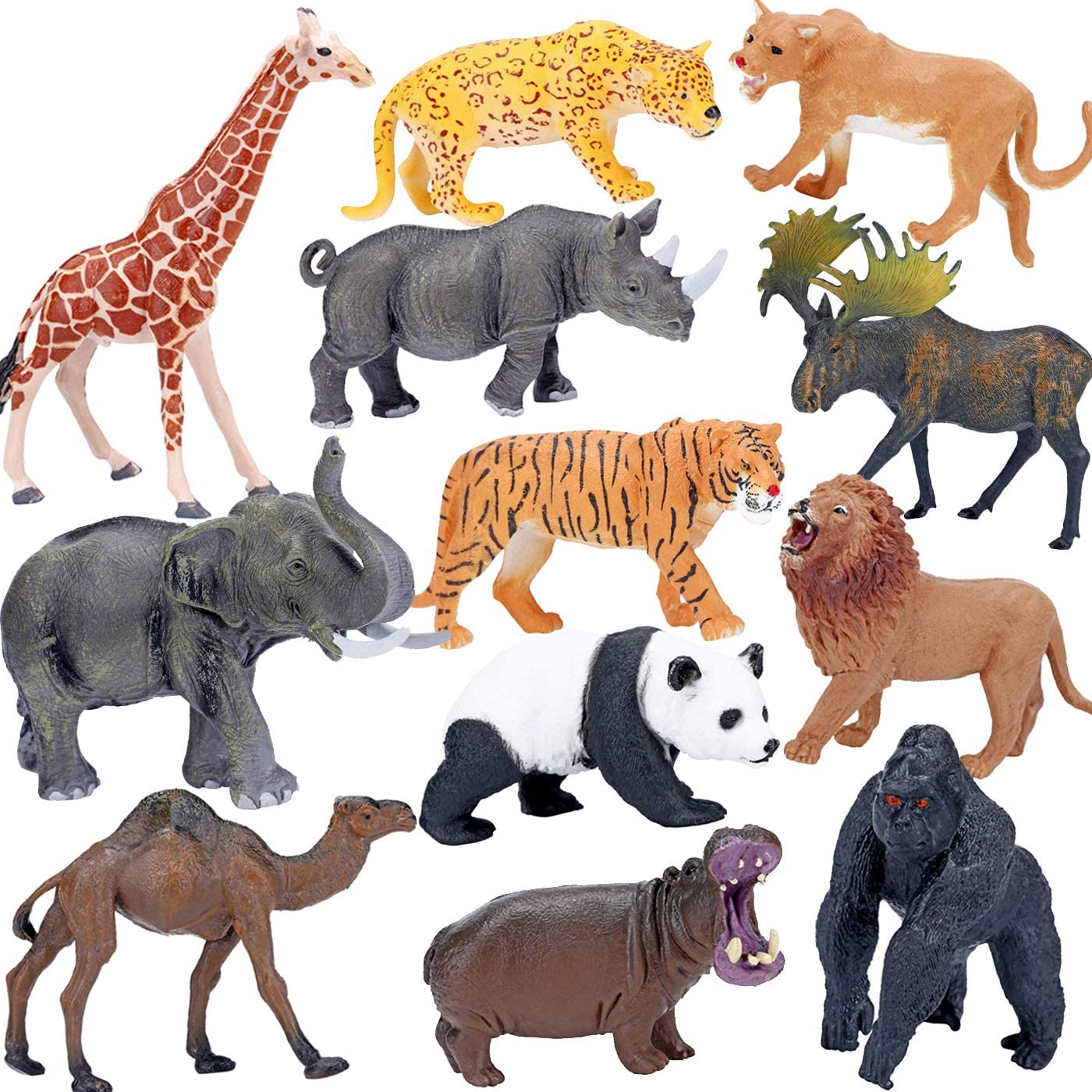 Amazon Com Safari Animals Figures Toys Realistic Jumbo Wild Zoo Animals Figurines Large Plastic African Jungle Animals Playset With Elephant Giraffe Lion Tiger Gorilla For Kids Toddlers 12 Piece Gift Set Toys