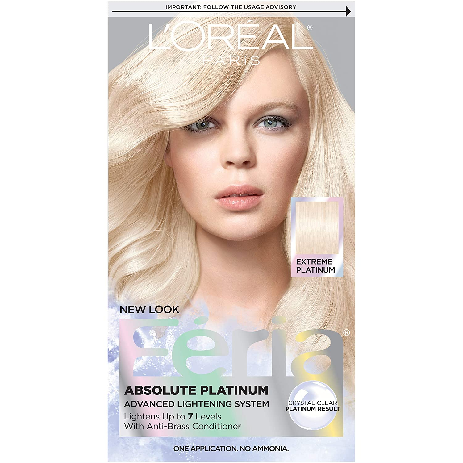 L'Oréal Paris Feria Multi-Faceted Shimmering Permanent Hair Color, Extreme Platinum