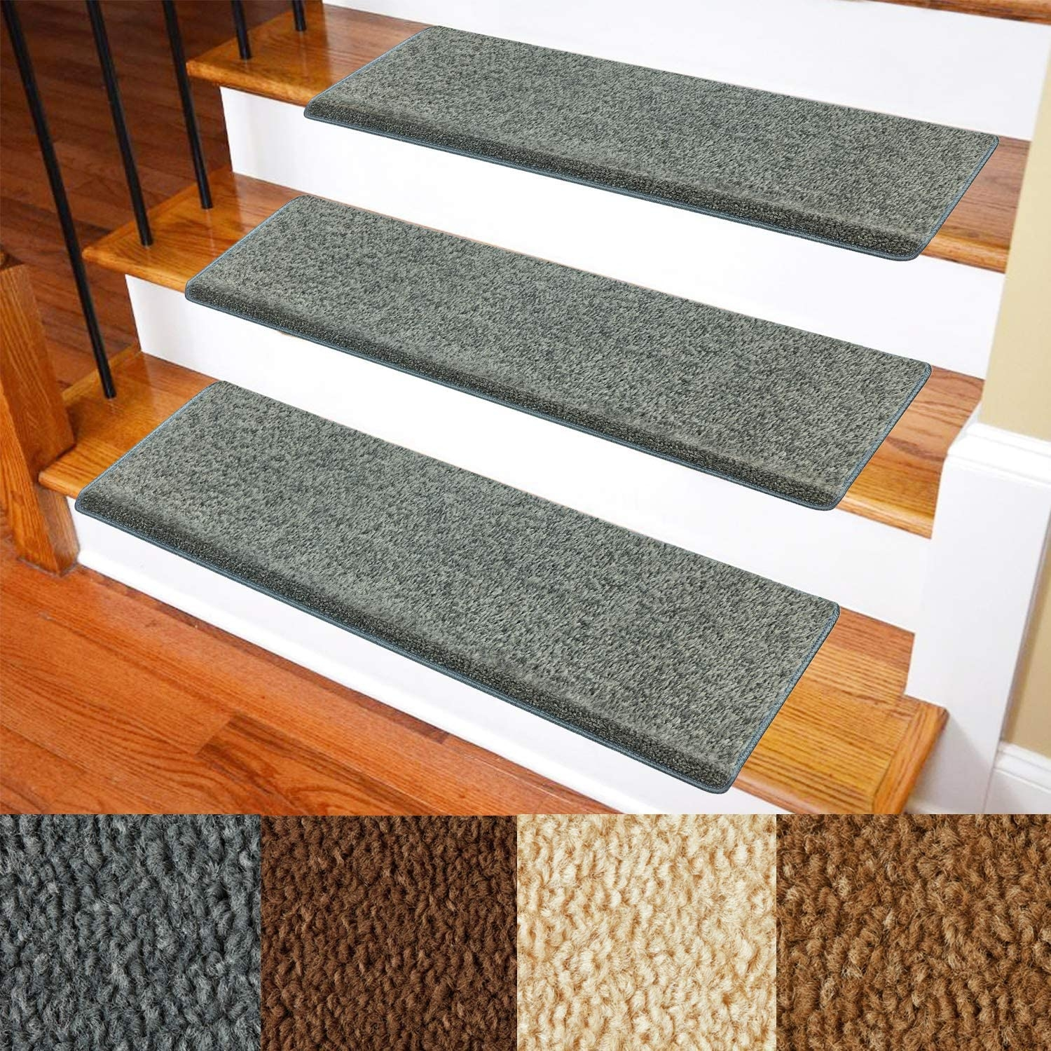 Carpet Stair Treads – Non Slip Bullnose Carpet For Stairs – Indoor | Carpet Cover For Stairs | Flooring | Stylish | Cheap | Diamond Pattern | Patterned