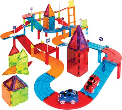 Amazon Com Best Choice Products 105 Piece Kids Magnetic Tile Car Race Track Stem Learning Building Toy Set W 2 Light Up Cars Traffic Signs Stickers Toys Games