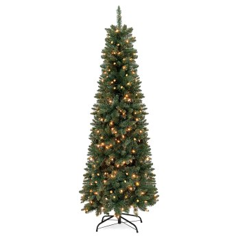 7ft Pre Lit Artificial Pencil Christmas Tree
