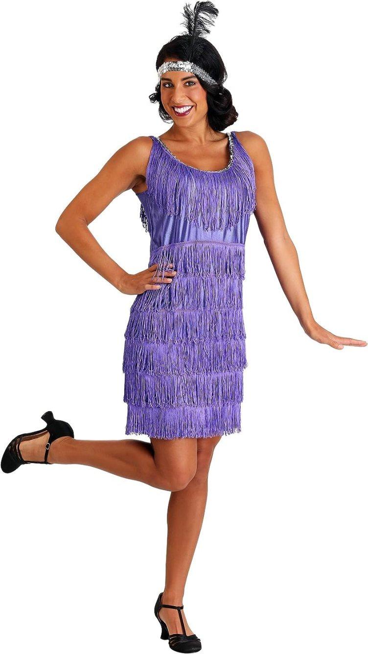 Amazon.com: Purple Plus Size Flapper Dress Adult Flapper Costume ...