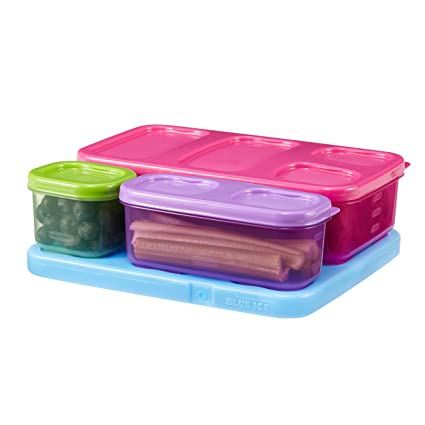 Rubbermaid LunchBlox Kid's Flat Lunch Container Kit, Purple/Pink/Green, 1866736